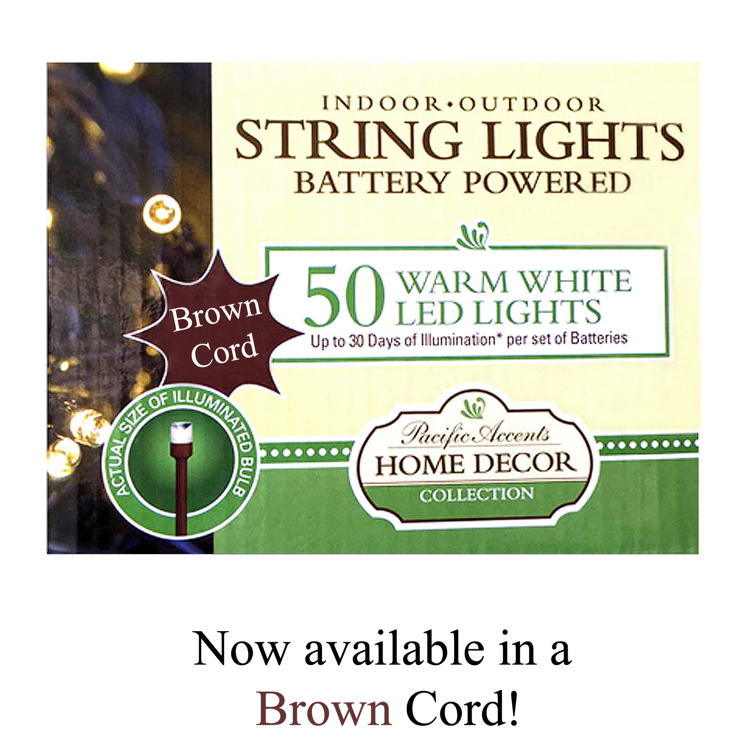 Battery Operated String Lights Brown Wire : Battery Operated Brown String Lights 50 LED
