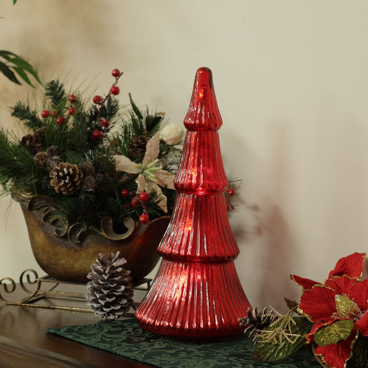 Flameless mercury glass christmas trees with leds pacific