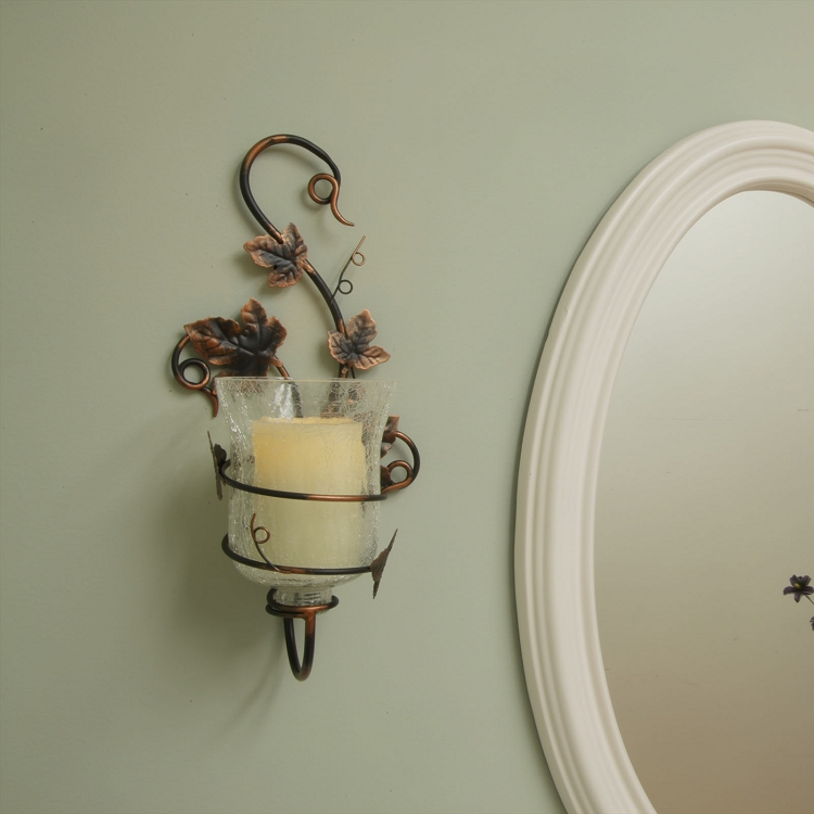 Pacific Accents Mendocino Flameless Sconce Vine Styling Free Candle