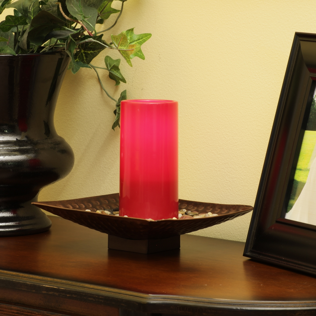 Pacific Accents Colored Flameless Resin Pillar Candles