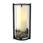 Biltmore Glass Hurricane with Stones & Timer Candle