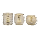 Milano Set of 3 Mercury Glass Flameless Tealight Holders