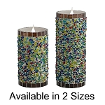 Solare 3D Virtual Flame Candles with Color-Hue Technology Speckled Stucco