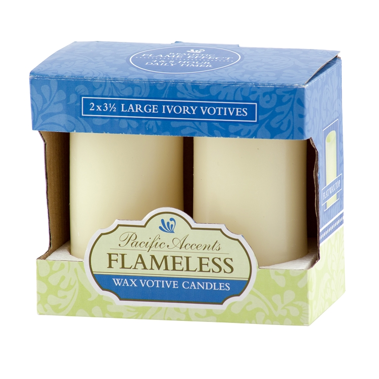 Pacific Accents Flameless Large Votive Candles With Timer