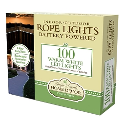 Battery Powered Rope Lights 100 LED Warm White