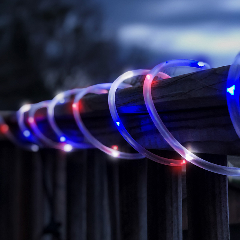 50 Led Red White Blue Solar Rope Lights