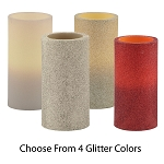 Flameless Glittered Wax Pillar Candles