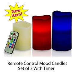 Flameless Color Changing Mood Candles Set of 3 With Remote and Timer