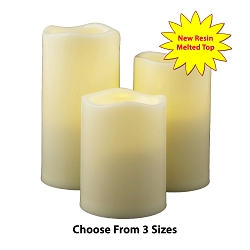 Resin Flameless Pillar Candles Ivory for Outdoor Use
