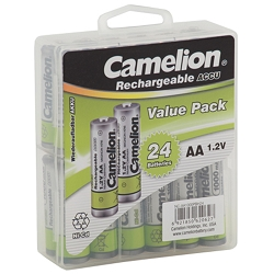 Camelion AA Ni-Cd Rechargeable Batteries 1000mAh Hard Plastic Case of 24