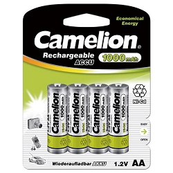 Camelion AA Ni-Cd Rechargeable Batteries 1000mAh Blister 4 Pack