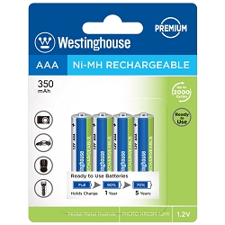 Westinghouse Always Ready AAA Ni-Mh 350mah Solar Rechargeable 4 Pack