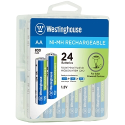 Westinghouse Always Ready AA Ni-Mh 800mah Solar Rechargeable 24 Pack