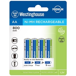 Westinghouse Always Ready AA Ni-Mh 800mah Rechargeable 4 Pack