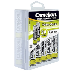 Camelion AAA Ni-Cd Rechargeable Batteries 300mAh Plastic Hard Case of 24