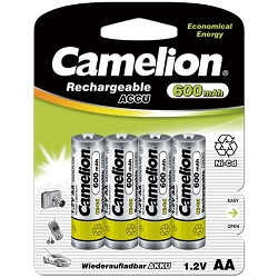 Camelion AA Ni-Cd Rechargeable Batteries 600mAh Blister 4 Pack