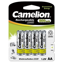 Camelion AA Ni-Cd Rechargeable Batteries 800mAh Blister 4 Pack