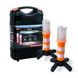 3-in-1 LED Roadside Flare 2-Pack Emergency Warning Kit