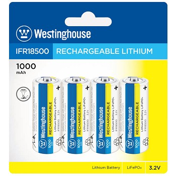 Westinghouse Solar Rechargeable Lithium 1000 mAh 3.2v 4 Pack Blister