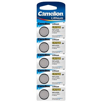 CR2016 3 Volt Lithium Button Cell Battery 5 Pack