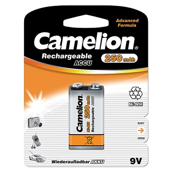 Rechargeable 9 Volt Ni-MH 250mAh Battery 1 Pack