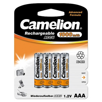 Rechargeable AAA Ni-MH 1000mAh Batteries 4 Pack