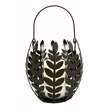 Wisteria Leaf Basket With Flameless Candle
