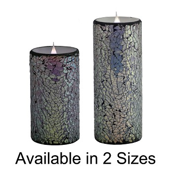 Solare 3D Virtual Flame Candles With Color Hue Technology Mirrored Mosaic